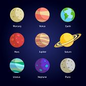 stock photo of uranus  - Solar system planets decorative icons set isolated on dark background vector illustration - JPG