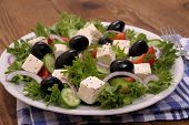 Greek Salad With Gigantic Black Olives, Sheeps Cheese