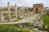 JERASH, JORDAN - MARCH 18, 2014: North Tetrapylon in the ancient city of Jerash. Since 2004, Jerash