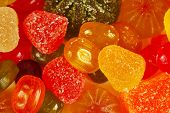 Background of colorful sweetmeats and jelly closeup