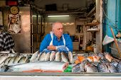 Fishmonger Stall At Market, Jerusalem