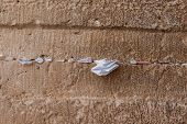 Handwritten Prayers Tucked In Cracks In Western Wall, Jerusalem
