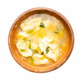 Soup With Dumplings Isolated On White Background.