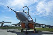 BERLIN, GERMANY - MAY 20, 2014: Jet fighter Mikojan-Gurewitsch MiG-29 (Polish Air Force) demonstrati