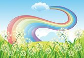 Illustration of a rainbow in the clear blue sky