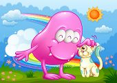 Illustration of a pink monster and a cat at the hilltop with a rainbow in the sky