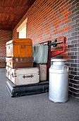 Luggage on platform scales, Brownhills West.