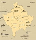 Kosovo, Administrative Districts, Capitals and Surrounding Countries