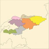 Kyrgystan, Administrative Districts and Surrounding Countries