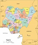 Nigeria, Administrative Districts, Capitals and Surrounding Countries