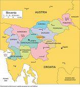 Slovenië met districten en omringende landen