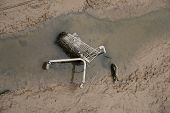 shopping cart dumped in muddy stream