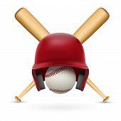 Symbol of a baseball. Helmet, ball and two bats.