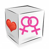 stock photo of homosexual  - cube icon on the theme of homosexuality with a heart - JPG
