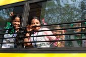 Indian children at school bus