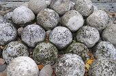 Pile Of Old Stone Cannonballs