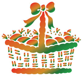 pic of gift basket  - illustration drawing of beautiful basket with bow - JPG