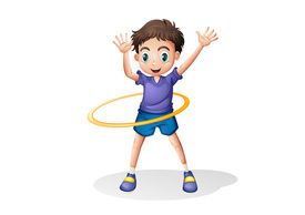 pic of hulahoop  - Illustration of a young man playing with the hulahoop on a white background - JPG