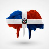 Flag of Dominican Republic painted colors