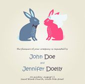 Cute wedding card with rabbits in bride and groom costumes. Vector invitation. Valentines day.