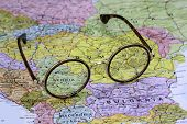 Glasses on a map of europe - Serbia
