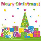 Merry Christmas tree and presents greeting card