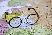 Glasses on a map of europe - Belarus