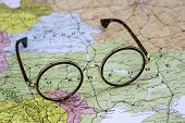 Glasses on a map of europe - Ukraine