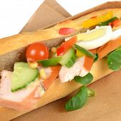 Sandwich With Smoked Chicken.