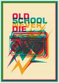 Retro poster with ghetto blaster. Vector illustration.