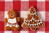Christmas homemade gingerbread girl on tablecloth