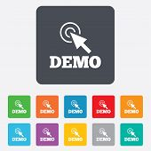 Demo with cursor sign icon. Demonstration symbol
