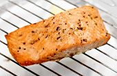 Grilled Salmon Fillet On Grill, Soft Focus