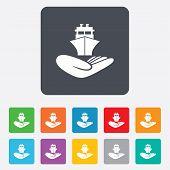 Shipment insurance sign. Hand holds ship.