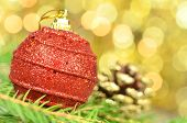 christmas decoration, Christmas ball and cone against bokeh background