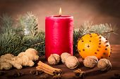 Candle with Christmas background