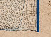 Soccer Goal Net On A Sandy Beach