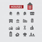 house, building - black icons, signs, illustrations set, vector