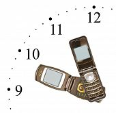 Clock made of mobile phones isolated on white background