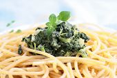 Pasta spaghetti with spinach poster