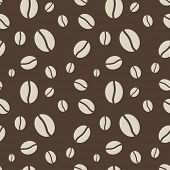 Seamless abstract brown coffee beans pattern.