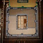 stock photo of processor socket  - Modern socket motherboard for a home computer - JPG