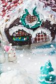 Snowman And Gingerbread House Of Sweets For Christmas