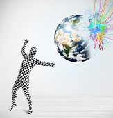 Funny man in body suit looking at colorful splatter 3d earth, Elements of this image furnished by NASA
