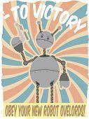 World War II Poster Faux Robot Invasion Vector