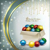 Christmas Box With Colored Balls On A Bright Background