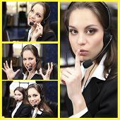 Call-center collage. Woman answering the phones