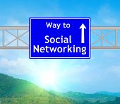 Social Networking Blue Road Sign