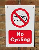 Sign Mounted On The Wall No Cycling