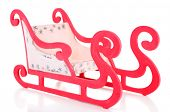 Wooden toy sledge, isolated on white